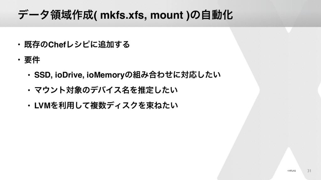 σʔλྖҬ࡞( mkfs.xfs, mount )ͷࣗಈԽ • طଘͷChefϨγϐʹՃ͢...