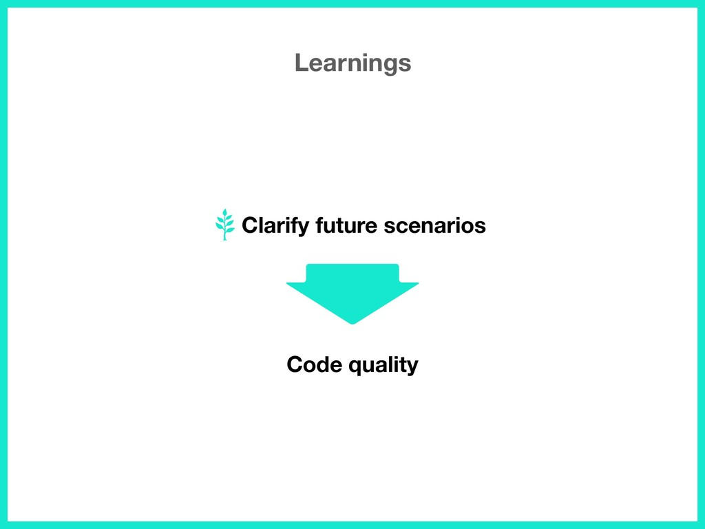 Clarify future scenarios Learnings Code quality