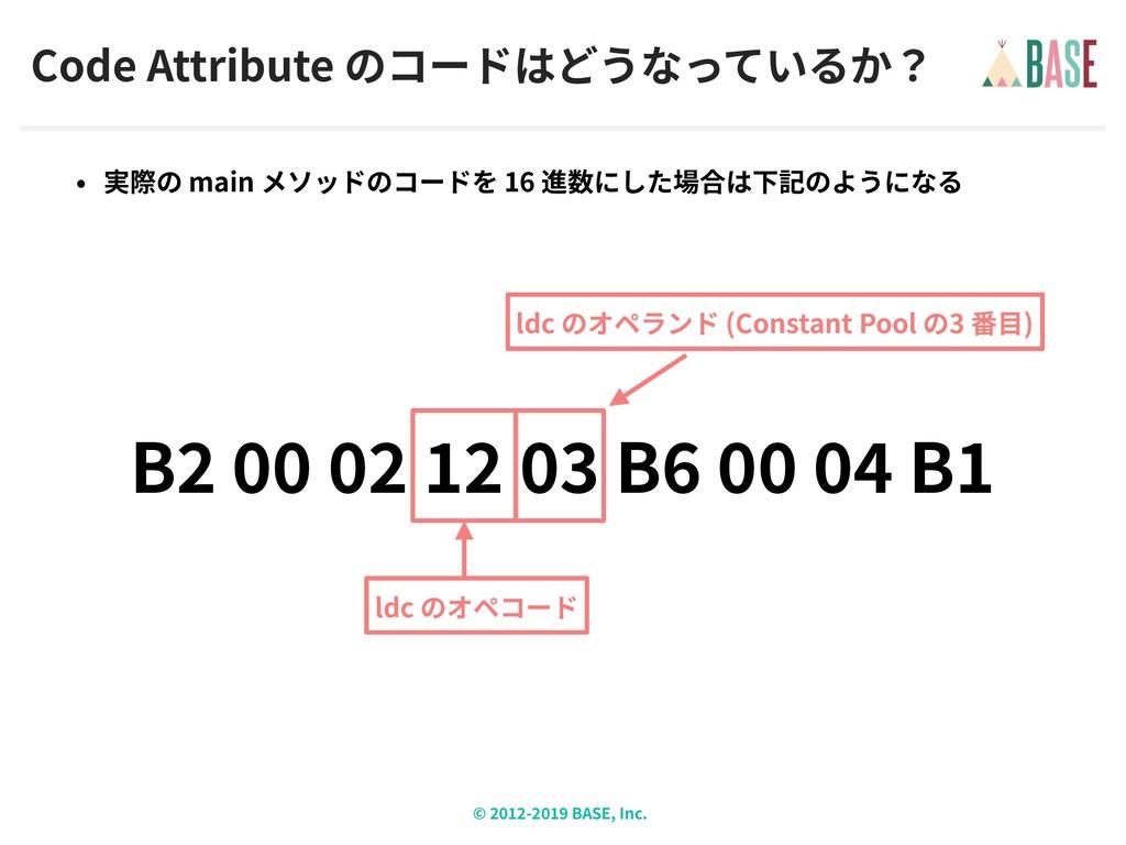 © - BASE, Inc. Code Attribute main 16 B B B ldc...