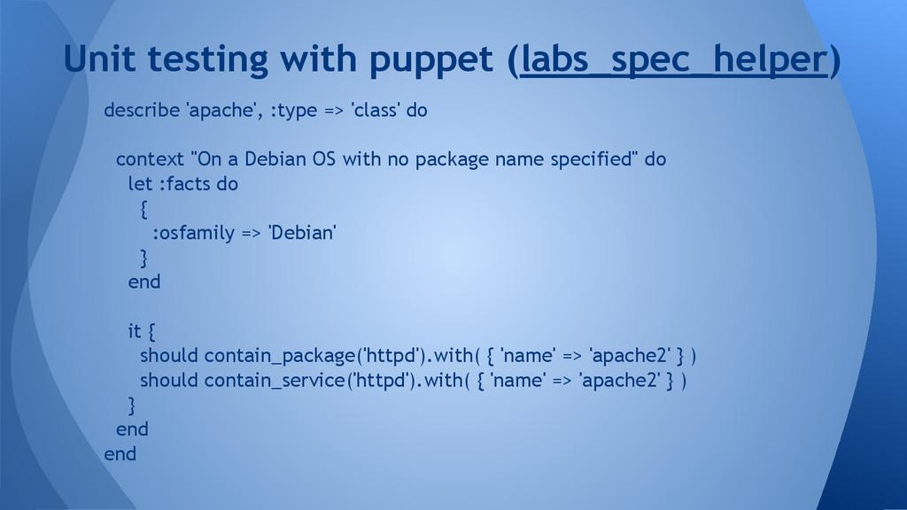 describe 'apache', :type => 'class' do context ...
