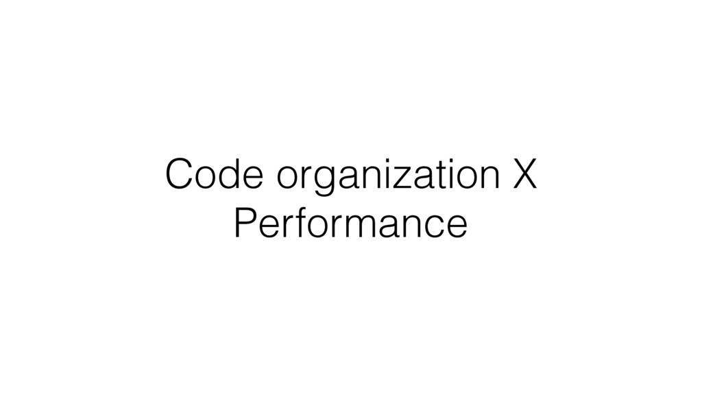 Code organization X Performance