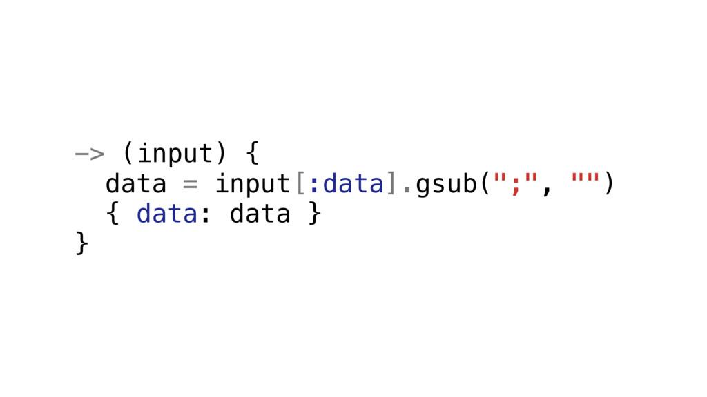 "-> (input) { data = input[:data].gsub("";"", """") ..."