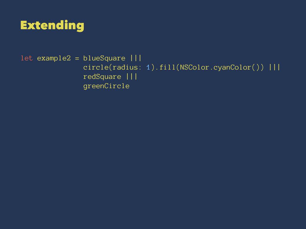Extending let example2 = blueSquare ||| circle(...