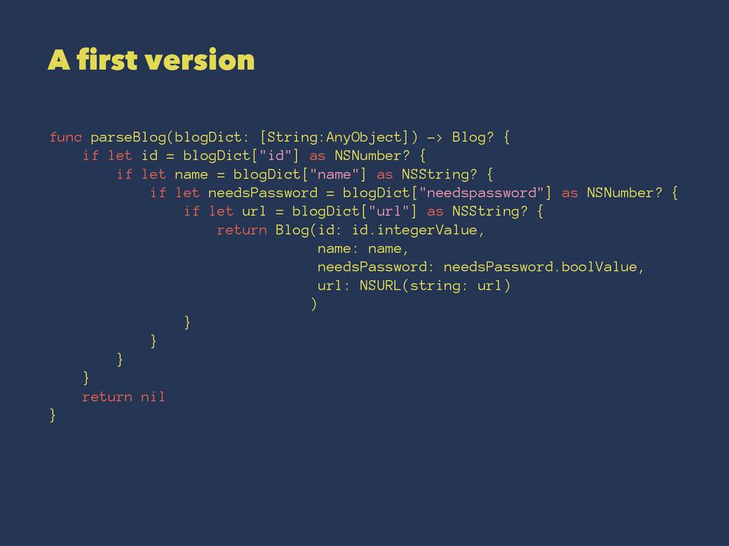 A first version func parseBlog(blogDict: [Strin...