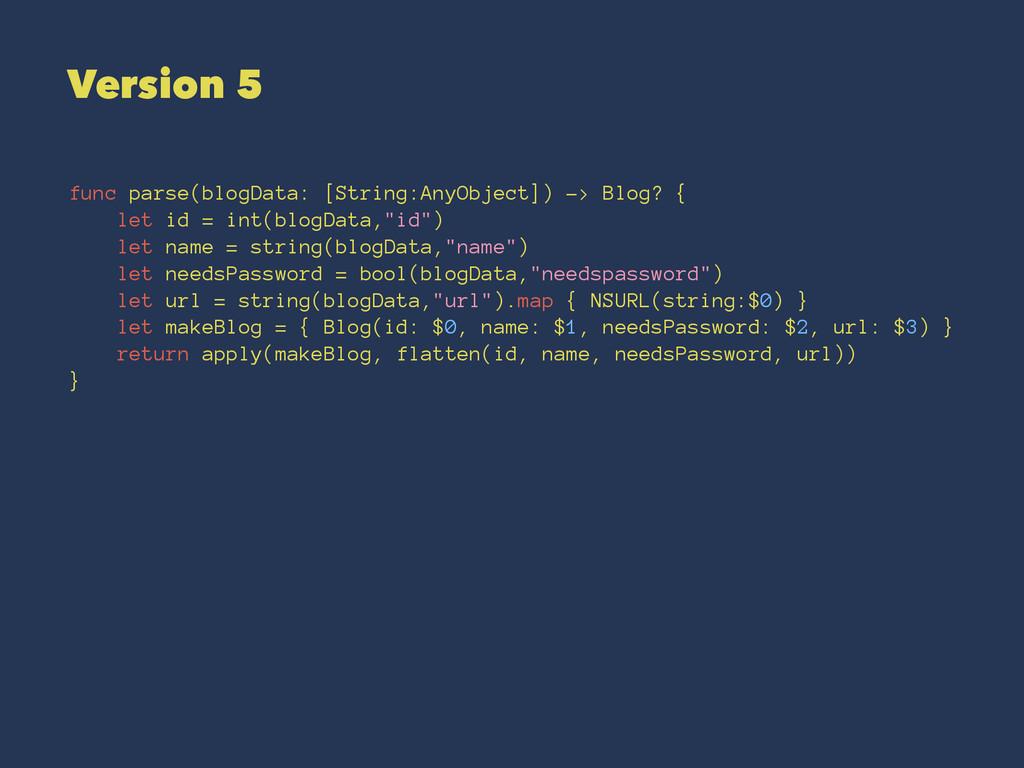 Version 5 func parse(blogData: [String:AnyObjec...