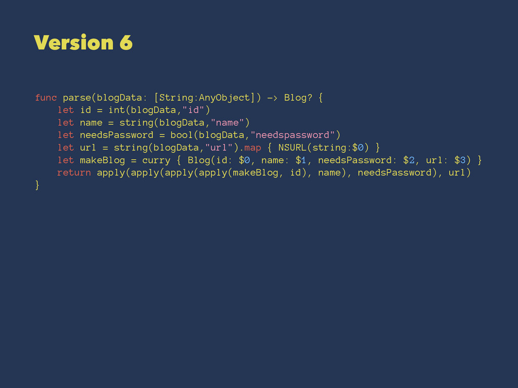 Version 6 func parse(blogData: [String:AnyObjec...