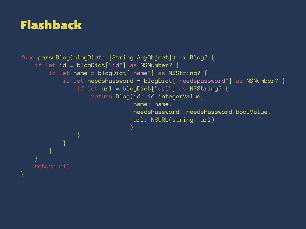 Flashback func parseBlog(blogDict: [String:AnyO...
