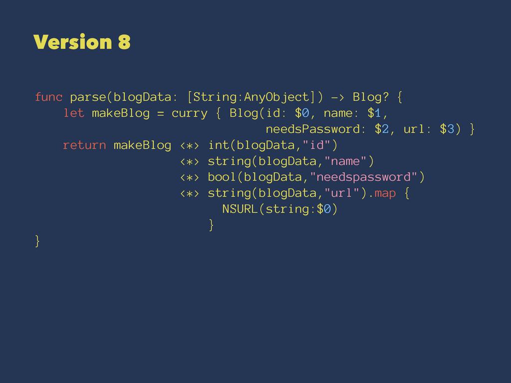 Version 8 func parse(blogData: [String:AnyObjec...