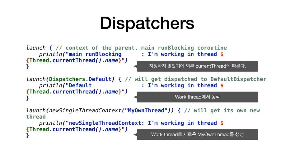 Dispatchers launch { // context of the parent, ...