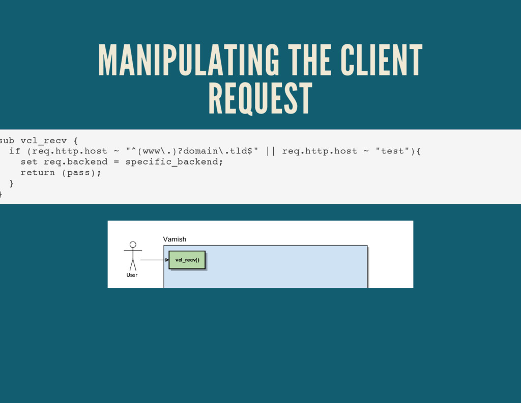 MANIPULATING THE CLIENT REQUEST sub vcl_recv { ...