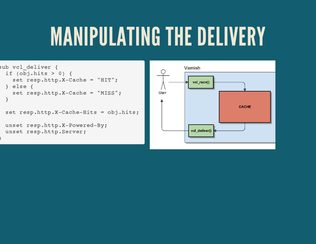MANIPULATING THE DELIVERY sub vcl_deliver { if ...