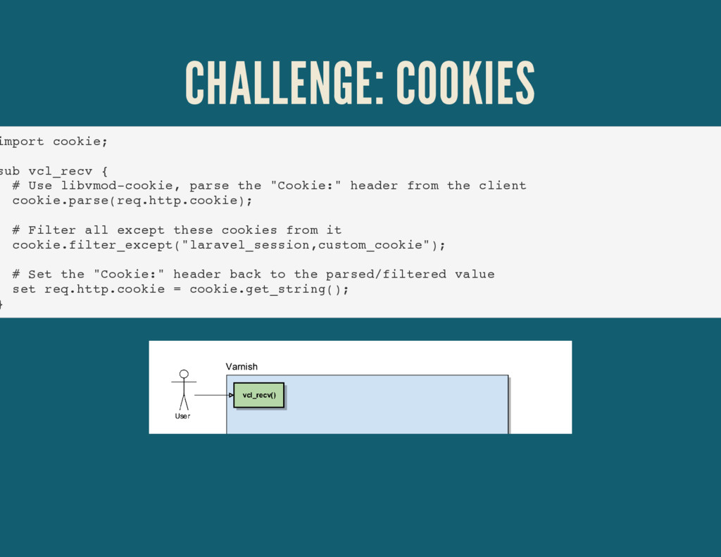 CHALLENGE: COOKIES import cookie; sub vcl_recv ...