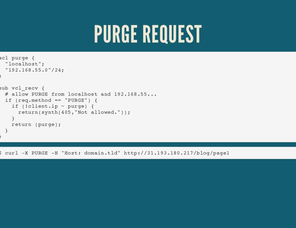 "PURGE REQUEST acl purge { ""localhost""; ""192.168..."