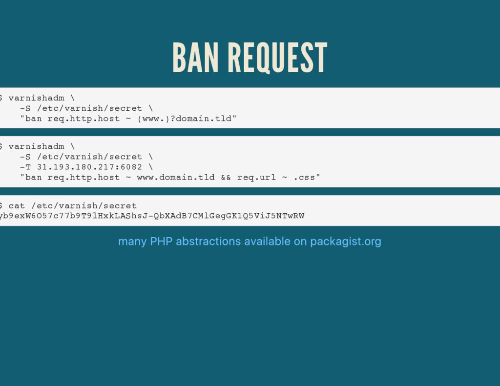 BAN REQUEST $ varnishadm \ -S /etc/varnish/secr...