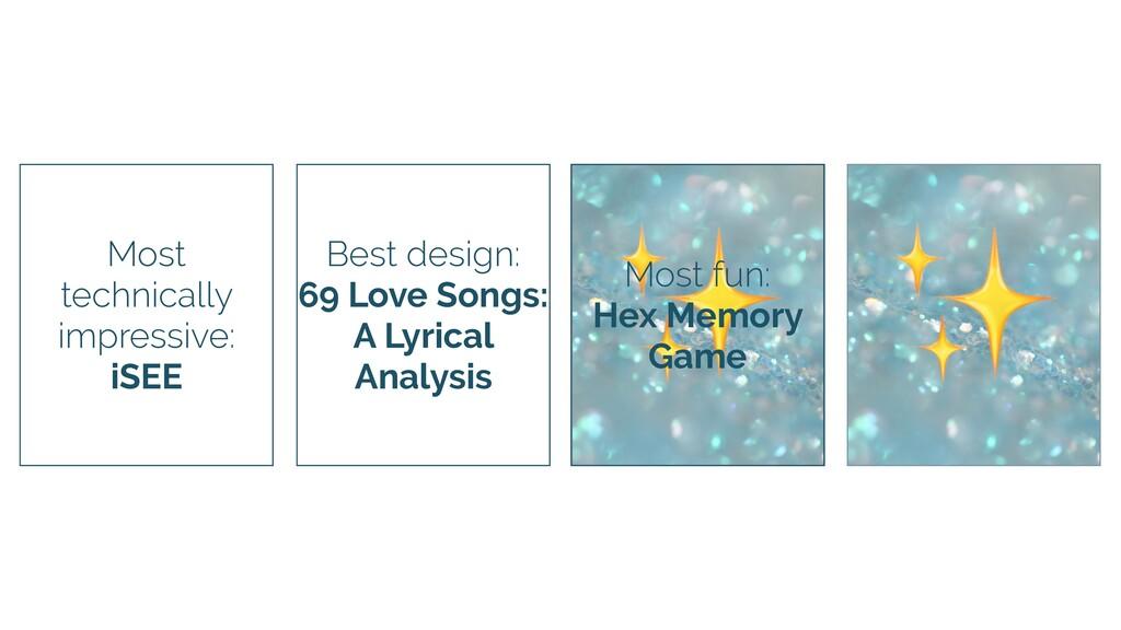 ✨ Most fun: Hex Memory Game Best design: 69 Lov...