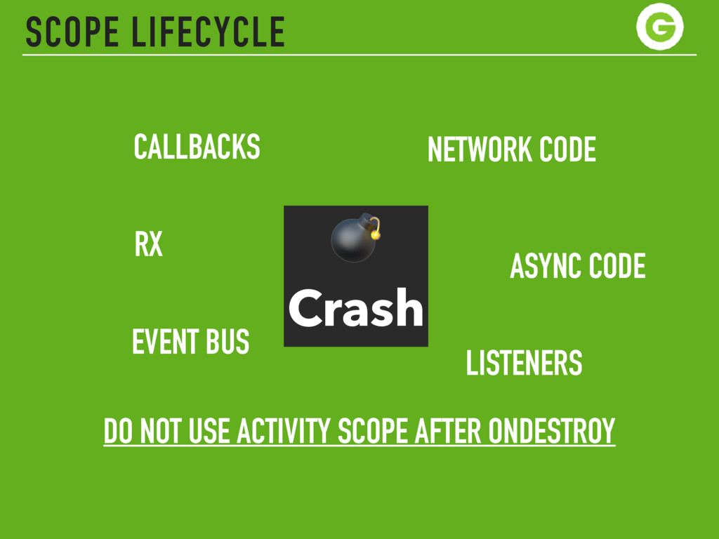SCOPE LIFECYCLE  Crash DO NOT USE ACTIVITY SCOP...
