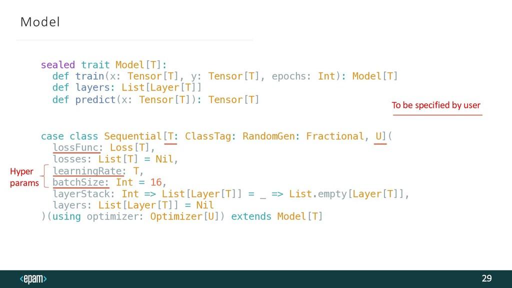 Model 29 sealed trait Model[T]: def train(x: Te...