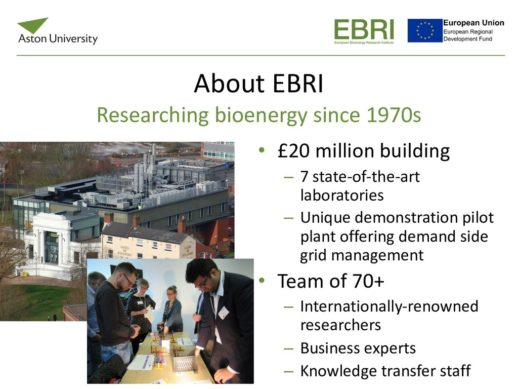 About EBRI Researching bioenergy since 1970s • ...