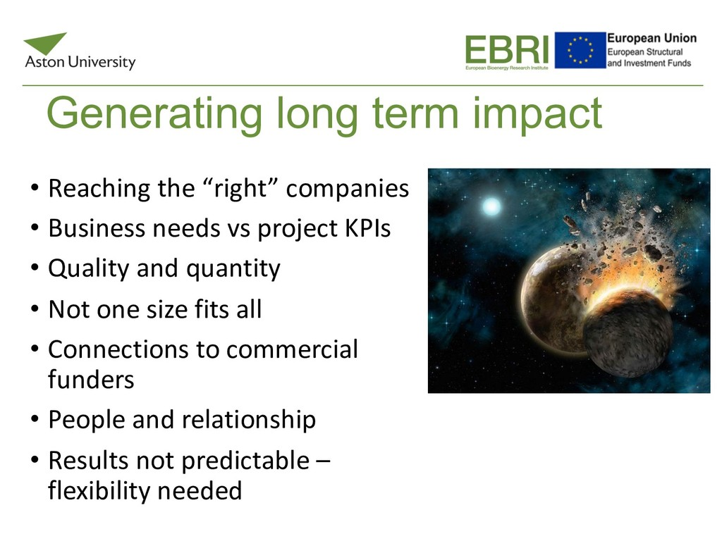 "Generating long term impact • Reaching the ""rig..."