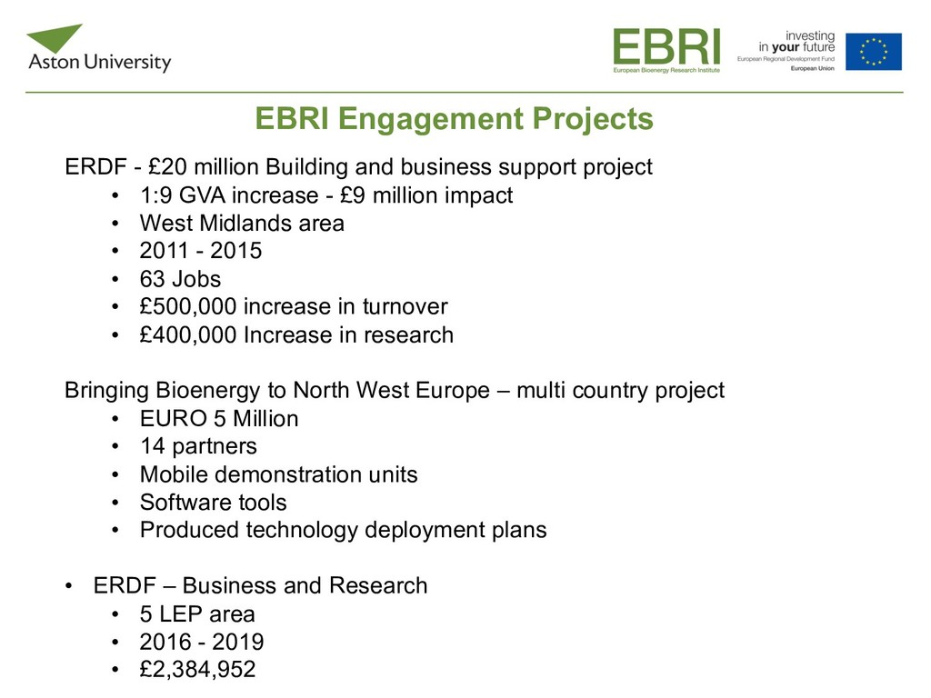 EBRI Engagement Projects ERDF - £20 million Bui...