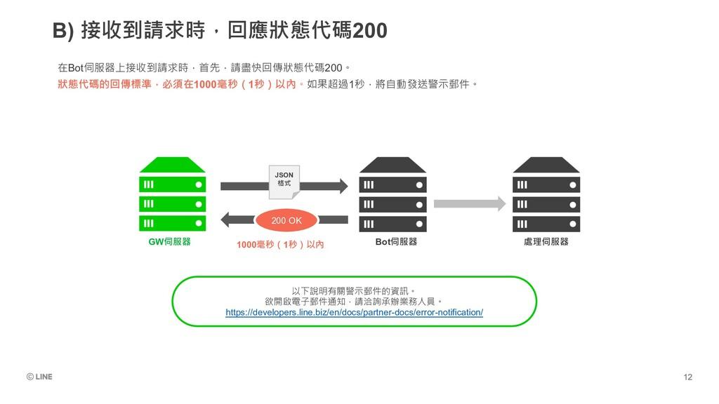 B) 接收到請求時,回應狀態代碼200 在Bot伺服器上接收到請求時,首先,請盡快回傳狀態代碼...