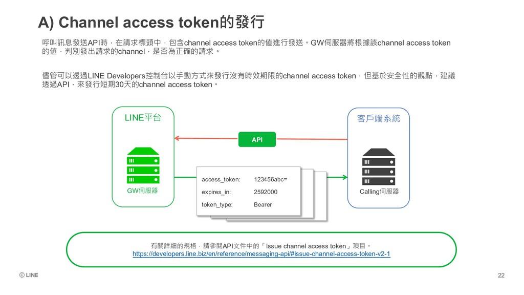 A) Channel access token的發行 呼叫訊息發送API時,在請求標頭中,包含...