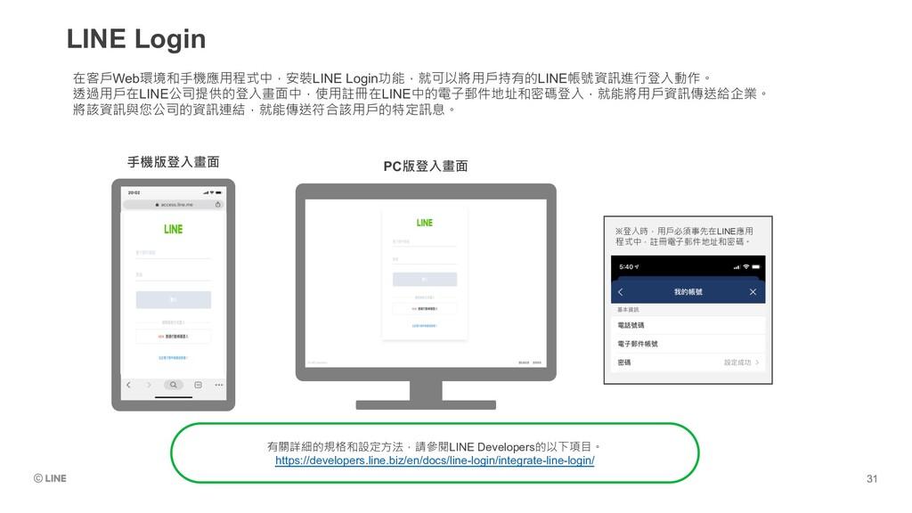 LINE Login ※登入時,用戶必須事先在LINE應用 程式中,註冊電子郵件地址和密碼。 ...