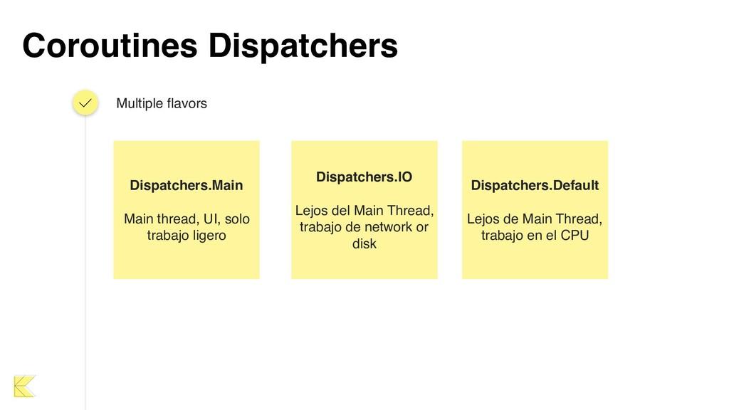Coroutines Dispatchers Multiple flavors Dispatc...