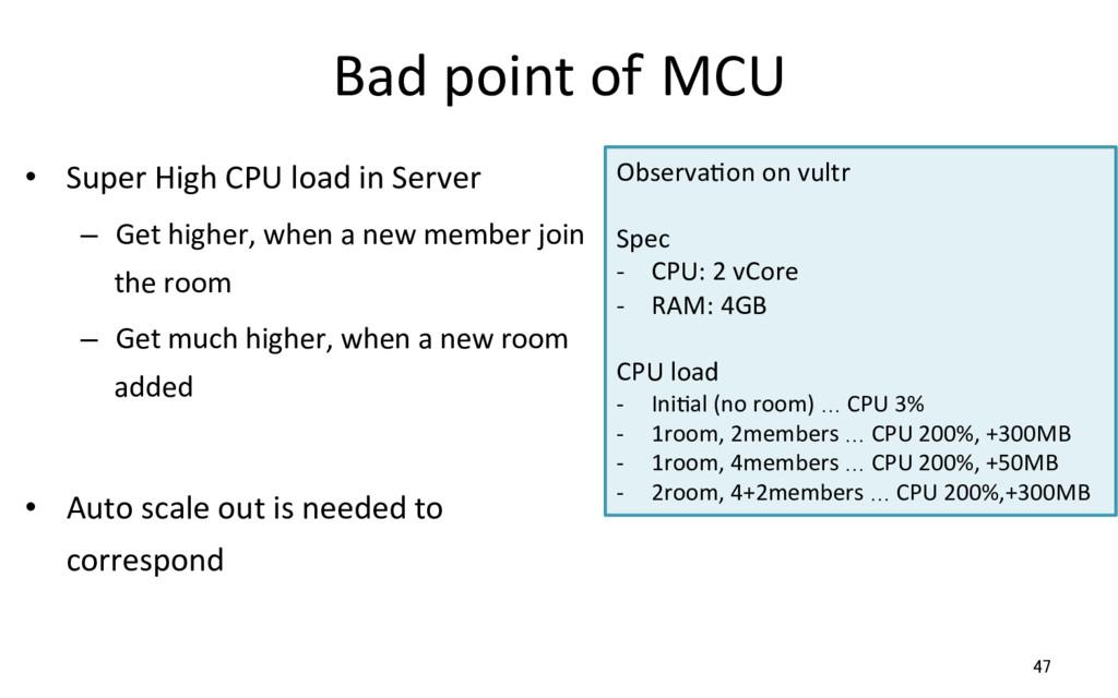 Bad point of MCU • Super High CPU load in Serv...