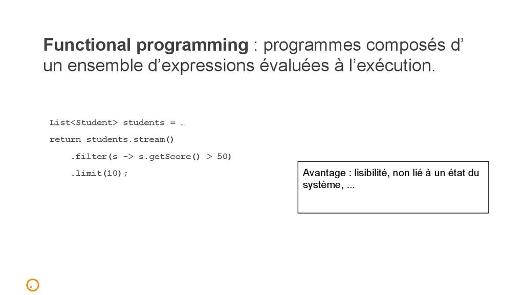 Functional programming : programmes composés d'...
