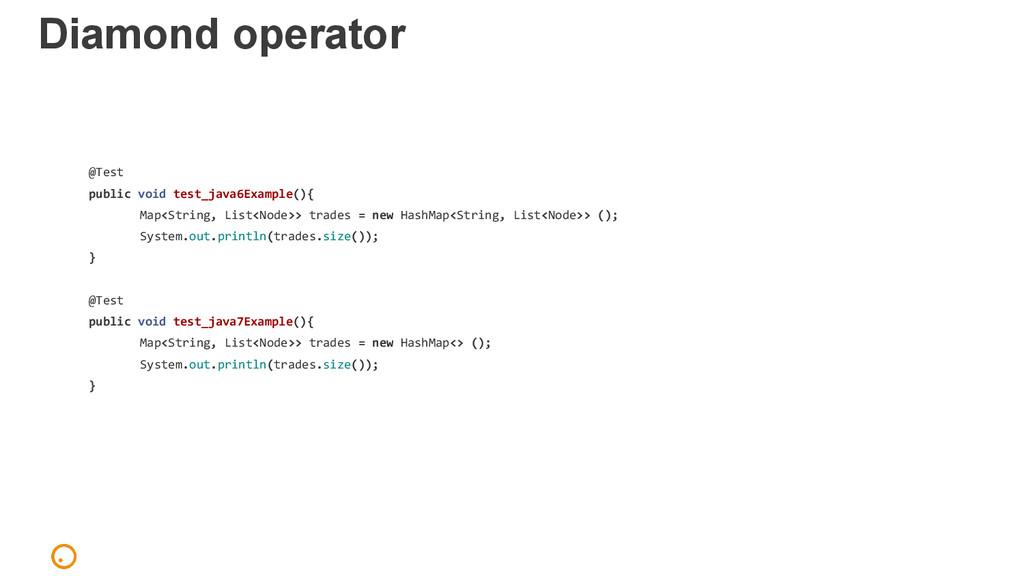 Diamond operator @Test public void test_java6Ex...