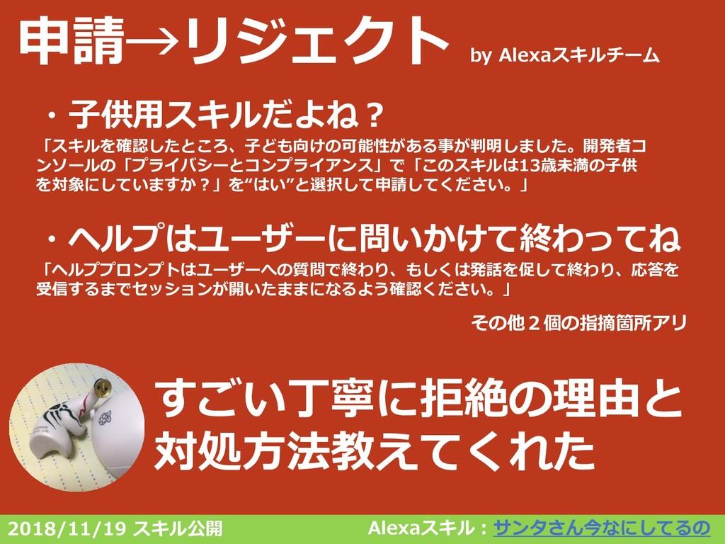 申請→リジェクト by Alexaスキルチーム Alexaスキル:サンタさん今なにしてるの す...
