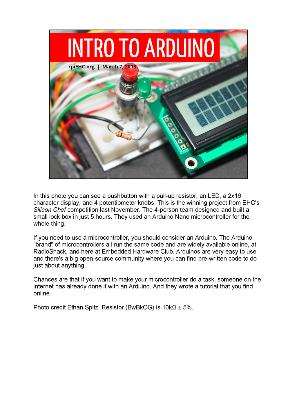 INTRO TO ARDUINO rpiEHC.org | March 7, 2013 In ...