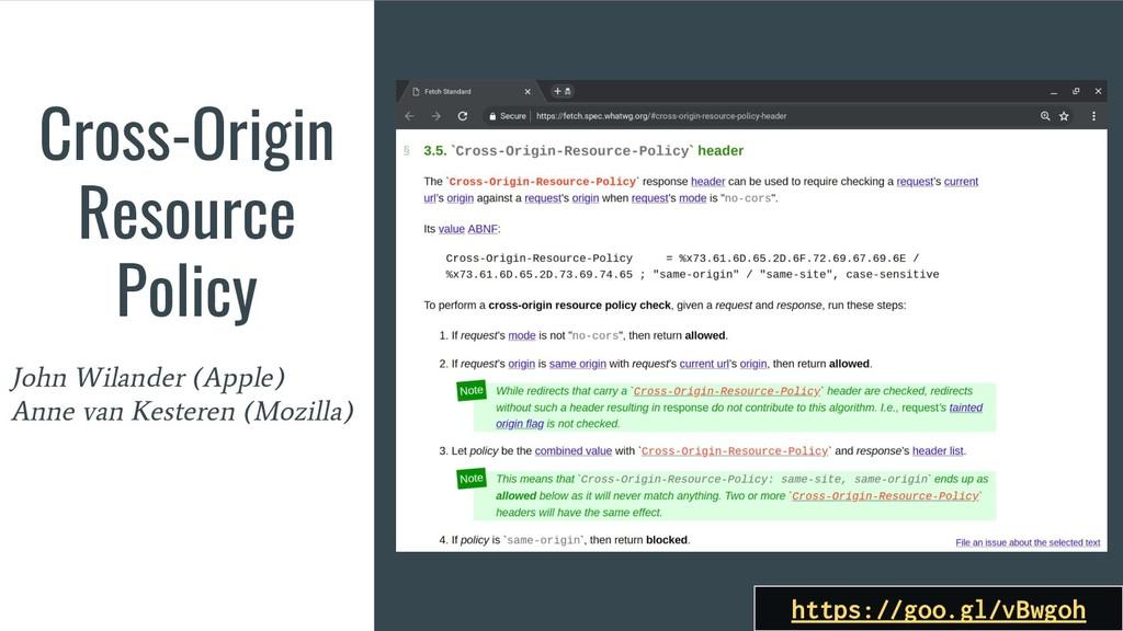 Cross-Origin Resource Policy John Wilander (App...