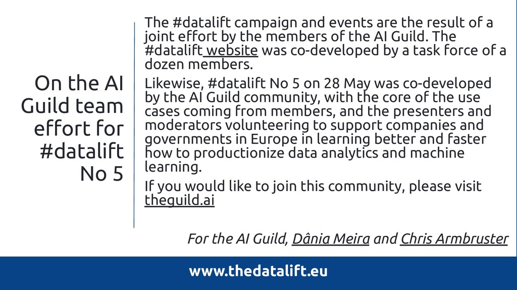 On the AI Guild team effort for #datalift No 5 T...