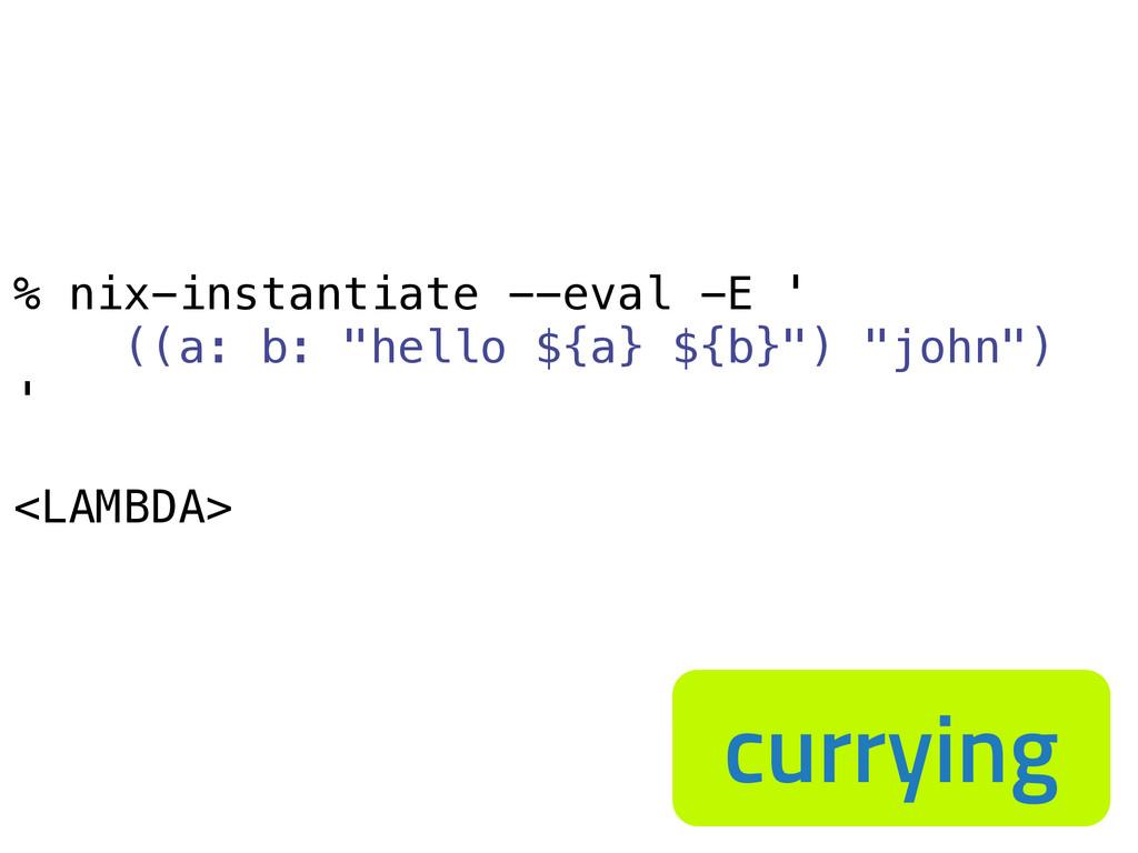 "% nix-instantiate --eval -E ' ((a: b: ""hello ${..."