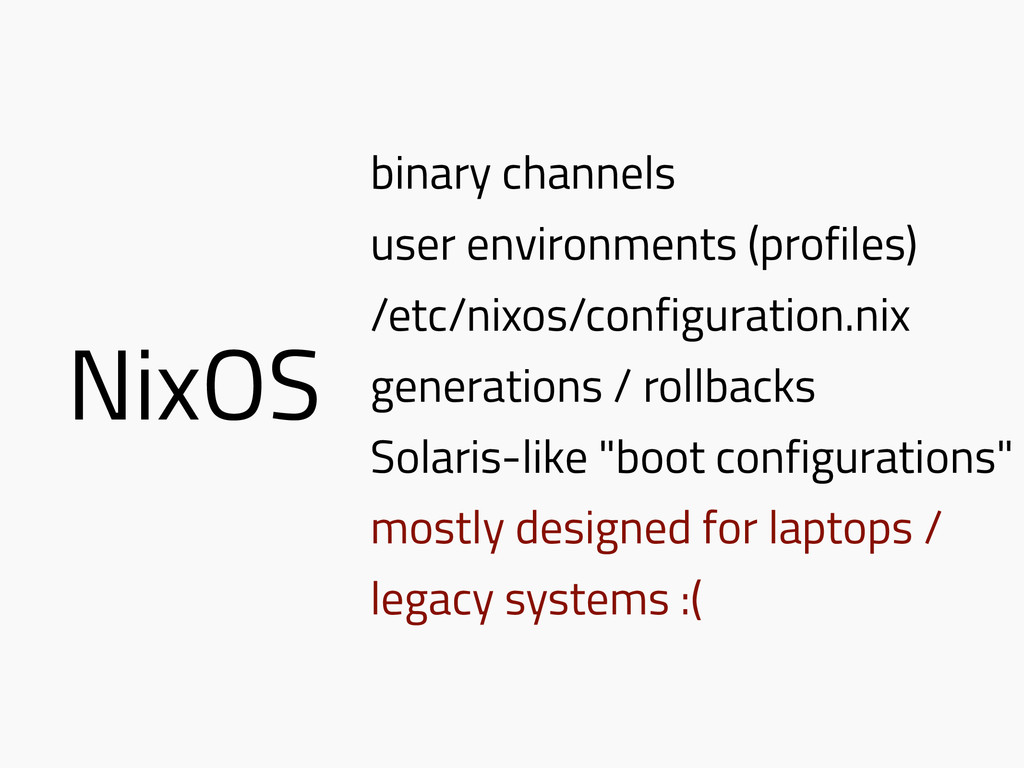 NixOS binary channels user environments (profil...