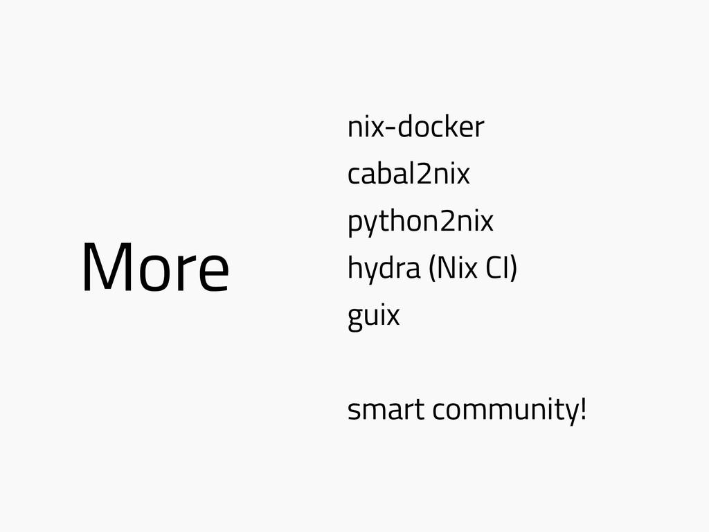 More nix-docker cabal2nix python2nix hydra (Nix...