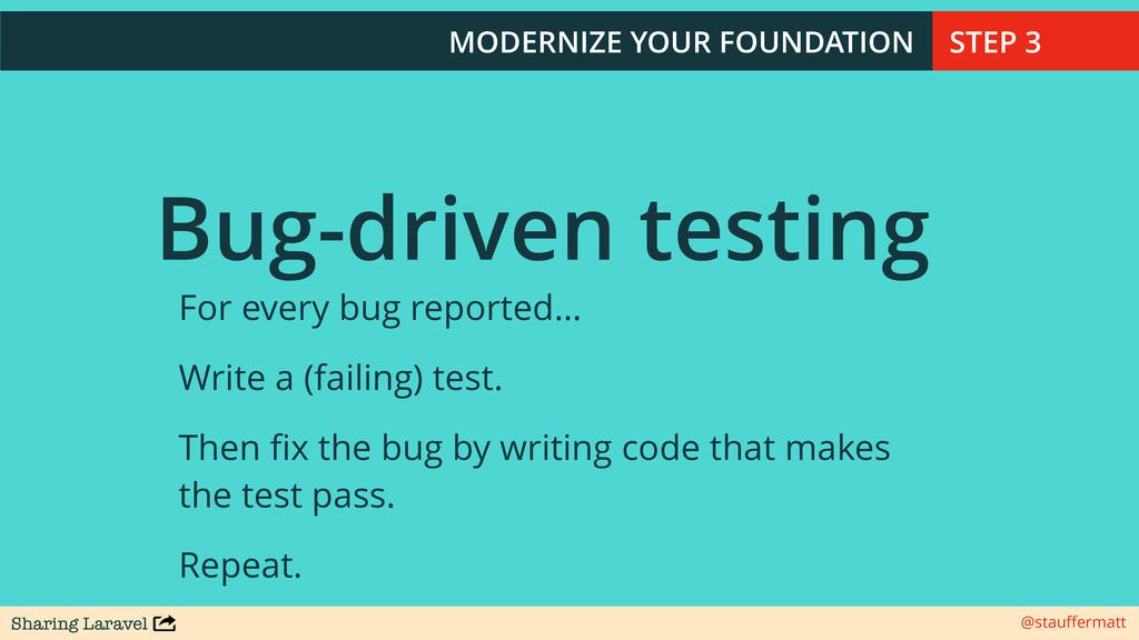 Sharing Laravel @stauffermatt Bug-driven testing...