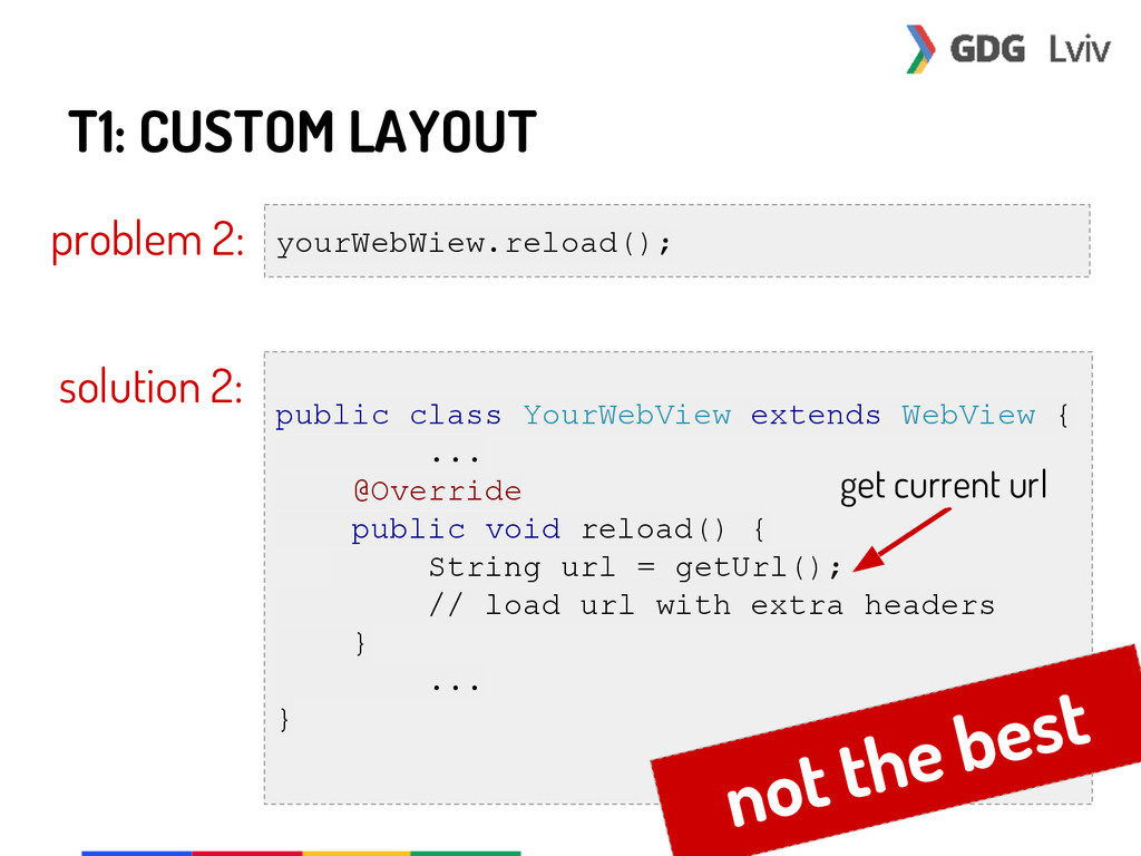 T1: CUSTOM LAYOUT problem 2: yourWebWiew.reload...