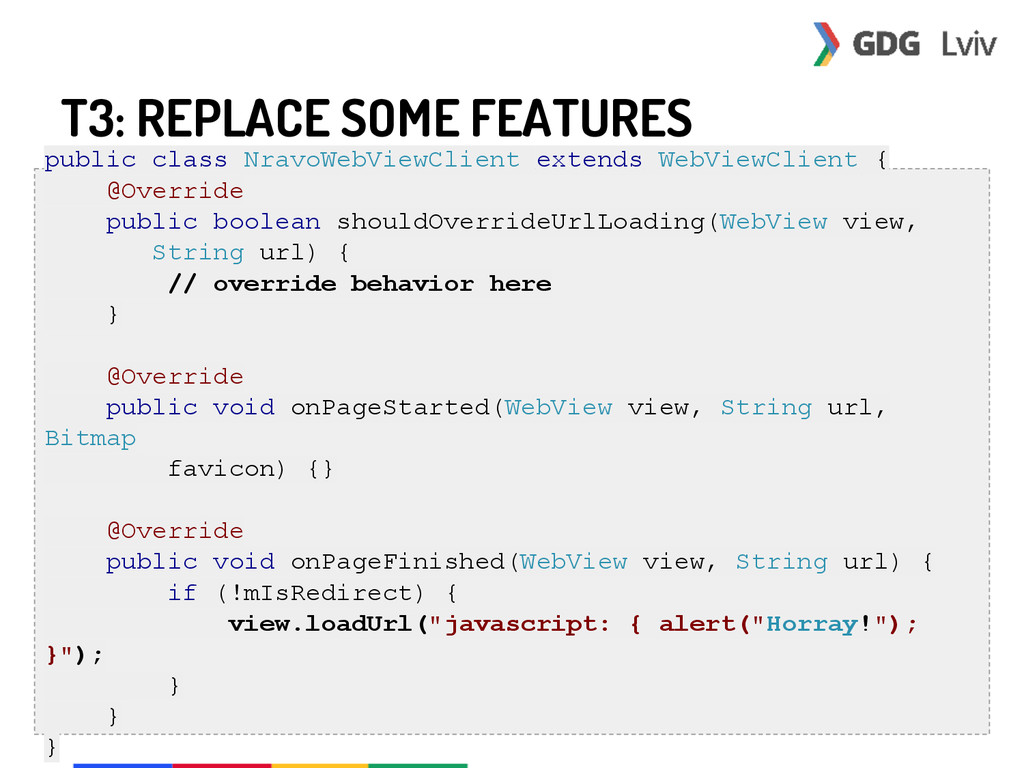 T3: REPLACE SOME FEATURES public class NravoWeb...