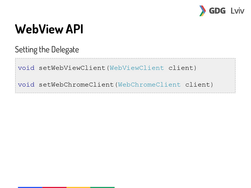 WebView API Setting the Delegate void setWebVie...