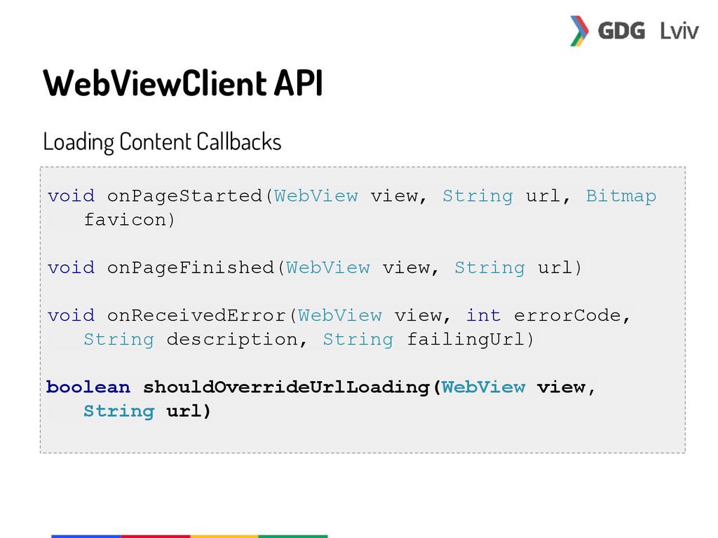 WebViewClient API Loading Content Callbacks voi...