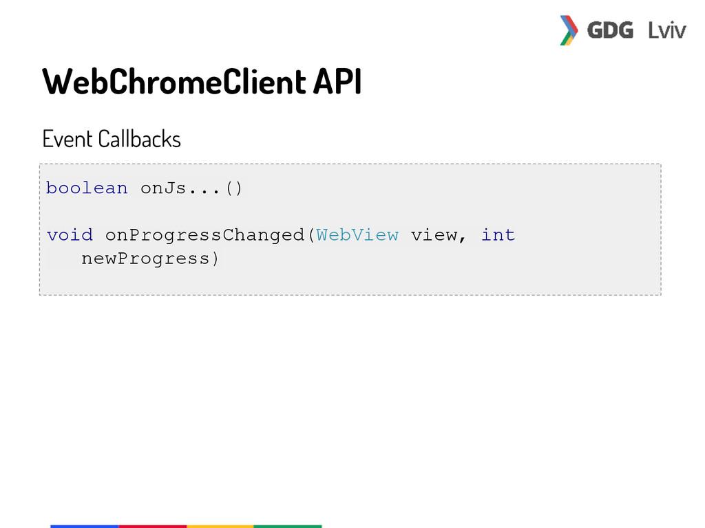 WebChromeClient API Event Callbacks boolean onJ...