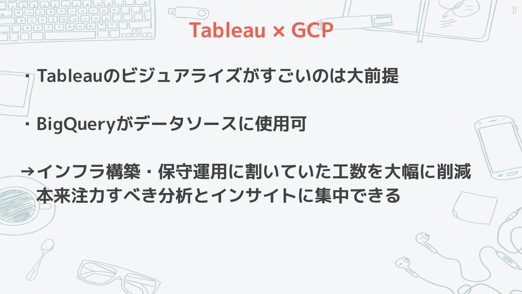 Tableau × GCP ・Tableauのビジュアライズがすごいのは大前提 ・BigQue...