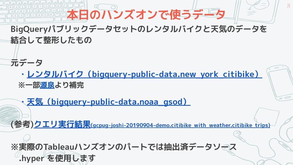 本日のハンズオンで使うデータ BigQueryパブリックデータセットのレンタルバイクと天気のデ...