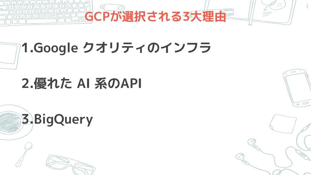 GCPが選択される3大理由 1.Google クオリティのインフラ 2.優れた AI 系のAP...