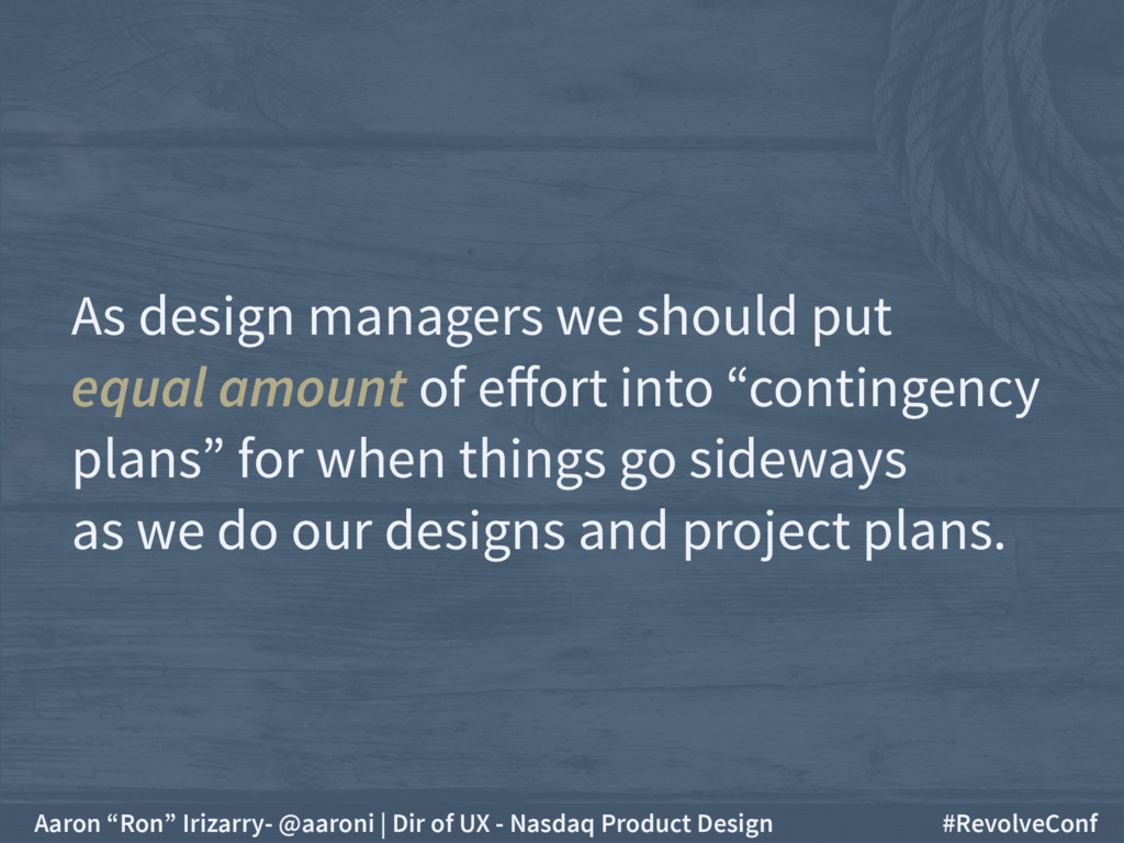 As design managers we should put  equal amount...