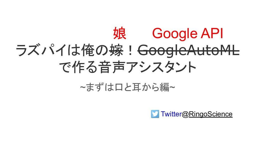 ラズパイは俺の嫁!GoogleAutoML で作る音声アシスタント ~まずは口と耳から編~ G...
