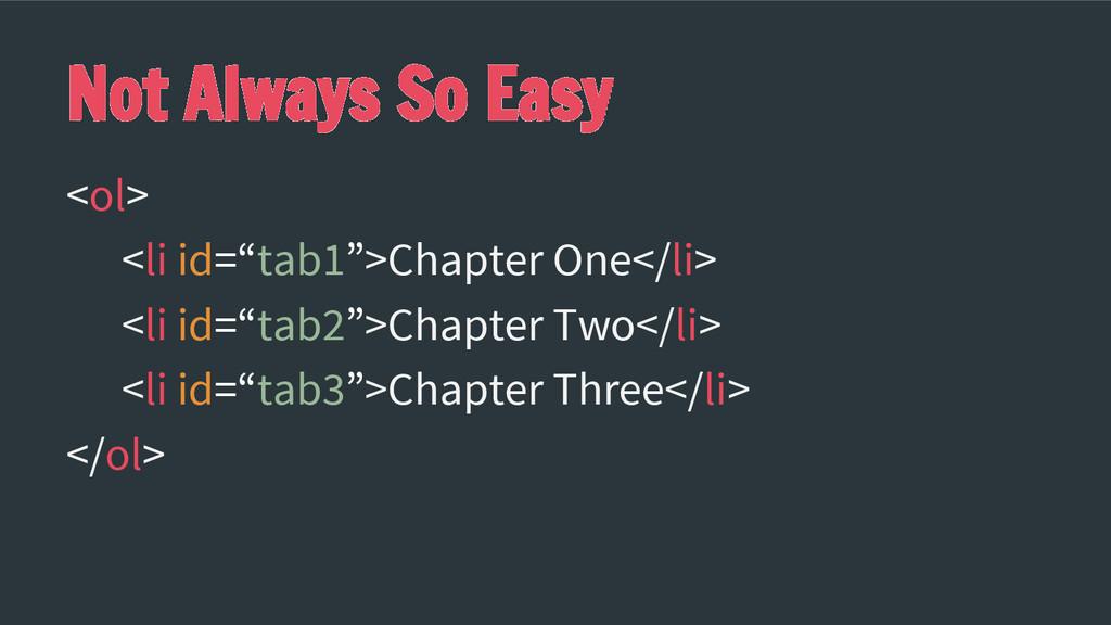 """Not Always So Easy <ol> <li id=""""tab1"""">Chapter O..."""